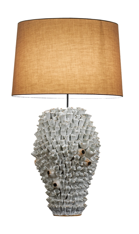 Large White Barnacle Ceramic Lamp