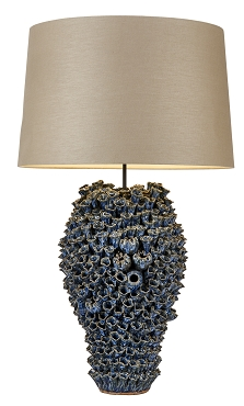Large Blue Barnacle Ceramic Lamp