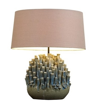 Blue and Tan Sea Barnacle Ceramic Lamp