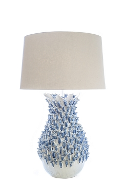 Fleur-De-Lys Royal Blue Ceramic Lamp