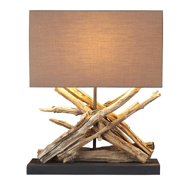 Crossed Driftwood Teak Table Lamp