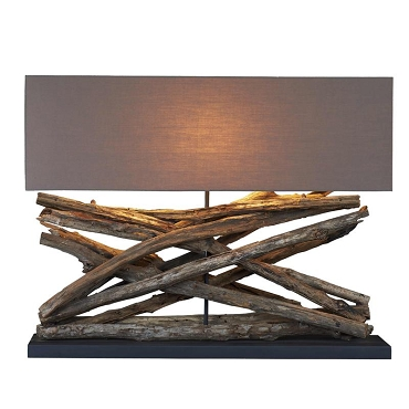 Large Teak Table Lamp