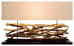 Extra Large Teak Sticks Table Lamp