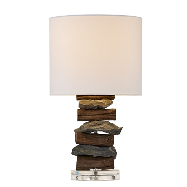 Natural Stone and Teak Table Lamp