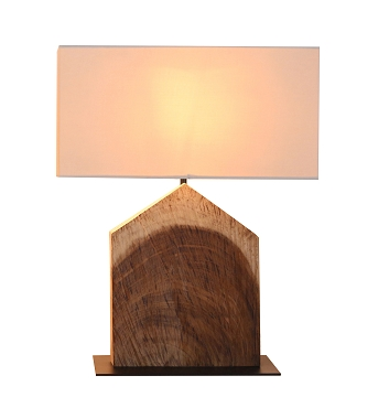 Long House Shaped Acacia Table Lamp