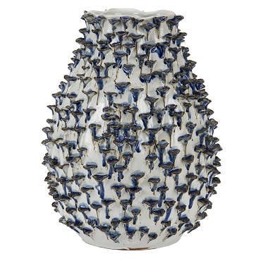 Medium Blue and White Coral Vase