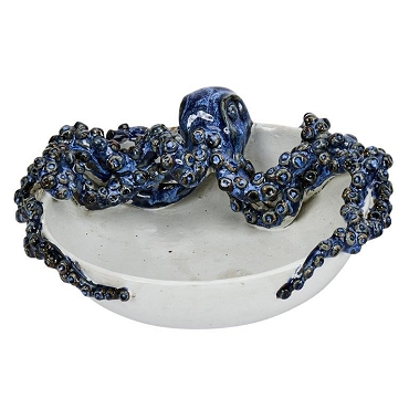 Blue and White Ceramicn Octopus Bowl