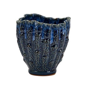 Large Two Tone Blue Oyster Vase