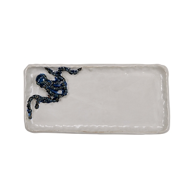 Medium Blue and White Octopus Platter
