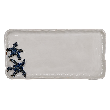 Large Blue and White Starfish Platter