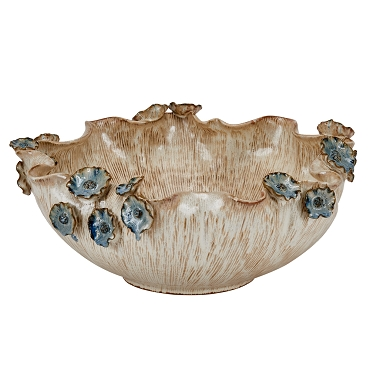 Large Ceramic Cream Bowl with Blue Flowers