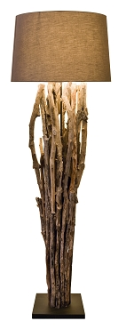 Natural Reclaimed Teak Sticks Floor Lamp