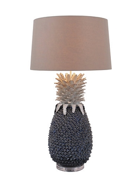 Large Blue and White Pineapple Ceramic Lamp