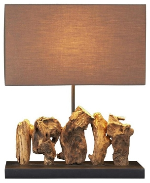 Aragon Sculpted Teak Table Lamp