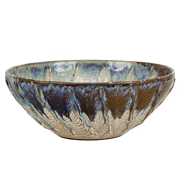 Oyster White and Indigo Blue Ceramic Bowl