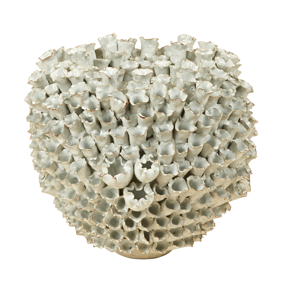 Medium White Coral Ceramic Vase